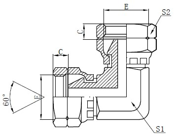 BSP Elbow Fit Adapter Drawing
